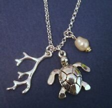 SILVER PENDANT NECKLACE BABY LOGGERHEAD SEA TURTLE CORAL BRANCH FAUX PEARL CHARM