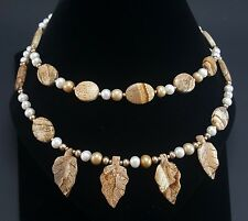 """Picture Jasper + Freshwater Pearl Necklace with Leaf Design 18"""" J53"""