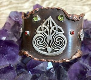 COPPER CUFF BRACELET WITH STERLING SILVER CELTIC SYMBOLS  WITH PERIDOT HANDMADE