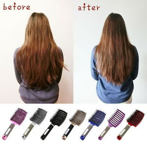 Women Bristle Nylon Paddle Hairbrush Cushion Massage Comb Brush Salon Hairstyle