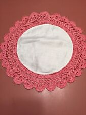 """Vintage Round White Doilie Pink Crochet 15"""" Round"""