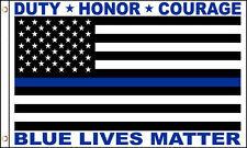 Blue Lives Matter USA Thin Blue Line Police Law Enforcement 3x5 Feet Flag