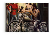 Harley Davidson Canvas Poster Print Vintage Art Painting Bar & Club Wall Decor