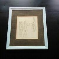 Dessin encre et lavis curiosa nus Dayelle de Terronblan scène galante signée