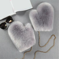 Lady Fur Fluffy Furry Gloves Mittens Plush Chain Halter Warm Winter Luxury Chic