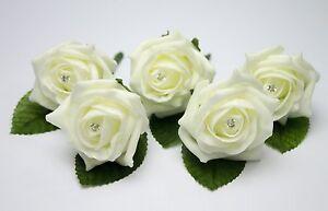 20 Rose Wedding Buttonholes with diamante - 44 colours - Groom, Guest, Best man