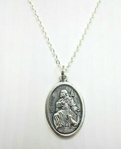 """Ladies St Roch ( Rock Rocco ) Medal Pendant Necklace 20"""" Chain"""