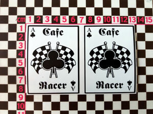 2 x Cafe Racer Ace Of Clubs Stickers - British Classic Motorbike Motorcycle Bike
