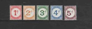 TRISTAN DA CUNHA #J1-J5 1957 POSTAGE DUE MINT VF NH O.G