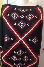 NWT $155 LAUREN RALPH LAUREN INTARSIA Tunic Sweater  Black Red White Size Large