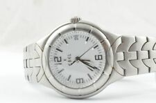 Ebel E-Type señores reloj acero Quartz 9187c41 con cinta de acero estado bonito