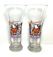 VTG 1987 Budweiser Beer Glass Spuds McKenzie Bud Light Pilsner Party Animal Pair