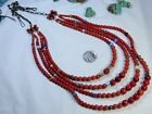 """NAVAJO HandMade Trade Beads CORAL STERLING Silver 22-29"""" Adjstbl 99g NECKLACE 🤠"""