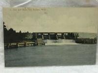 Vintage 1910 Postcard Baldwin Michigan Dam and Water Fall