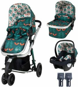 New Cosatto giggle 3 in 1 pram & pushchair Fox Friends with car seat & raincover