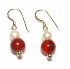 Genuine White Pearl & Red Jade 14K Gold Filled Hook Earrings