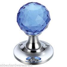 Fulton & Bray cristallo taglio vetro blu Mortice MANIGLIE COPPIA Chrome fb401cpb