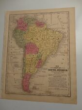 1847 Hand Colored Engraved Map of South America - Mitchell's Atlas