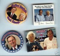 4 BARBARA + George BUSH  1992 pin Campaign pinback button