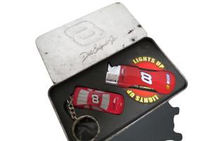 Dale Earnhardt Jr Nascar Gift Set Die Cast Key Chain Light Up Lighter In Tin
