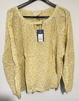 New Peasant Blouse Boho Tunic Top Cotton Plus Size 2X NWT Yellow Floral Flowers