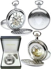 Reloj de bolsillo Mount Royal Twin-Tapa Hunter Esqueleto 17 Joya CP libre engr B22
