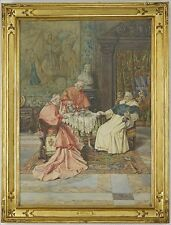 """Listed Italian Artist Pietro Pavesi Signed Watercolor """"The Clergy At Tea"""" C.1890"""