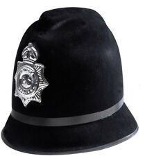 English Bobby Hat Black Police Cop Officer Costume British Badge Cap Adult
