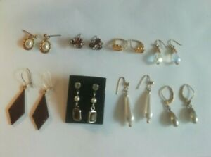 Job lot earrings 8 pairs. Vintage pearl costume collection mix dangle stud retro