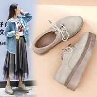 Womens Brogue Lace Up Round Toe Wedge Flat Heel Oxfords Casual Comfort Walk Shoe