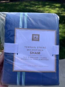 Pottery Barn Teen Standard Sham blue Terrain Stripe microfiber NWT
