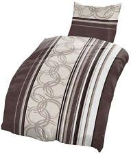 4 tlg Biber Bettwäsche 135x200 cm Streifen Kreise braun beige Baumwolle Set NEU