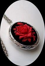 RED ROSE on Black CAMEO Silver LOCKET NECKLACE memory Keepsakes Photos Pill Box