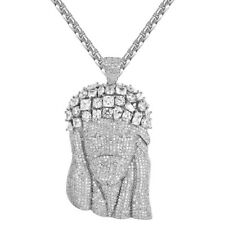 Solitaire Jesus Christ Pendant Chain Full Iced Out Simulated Diamond 925 Silver
