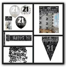 21st Happy Birthday Party Supplies Decorations Pack In Black