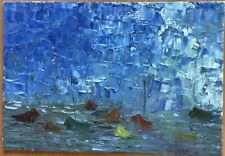Magnifique Tableau peinture à l'Huile Paysage Marine Bateau