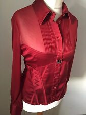 Karen Millen BNWOT Amazing Silk Ribbon Silk Sheer Blouse Top 14  KM Cufflinks