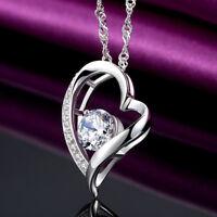 Herz Halskette Collier Anhänger mit Swarovski Kristallen 925 Sterling Silber Neu