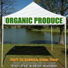 Organic Produce Canopy Banner Sign Reinforced Edge and Metal Grommets cnp
