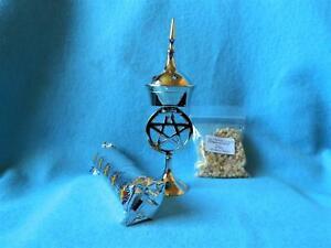 Pentagram Incense Burner Set with Charcoal discs and Frankincense and/or Myrrh