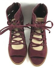 Vince Camuto Burgundy Suede Tressa Perforated Open Toe Sandals Womens Size 8M