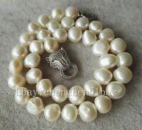kultivierte 10-11mm Weiß barocke Süßwasserperlen Tiger Kopf Halskette 18 Zoll