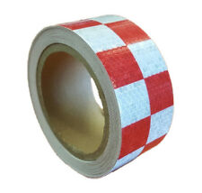 NEW HIGH INTENSITY RED / WHITE REFLECTIVE CHEQUERED TAPE 50mm x 10m