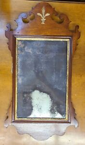 Late 18th Early 19th Century Chippendale Looking Glass Mirror Untouched
