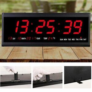 Large Jumbo Digital LED Wall Clock Desk Alarm Calendar Temperature Humidity Date