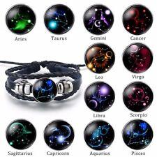 12 Constellation Zodiac Sign Black Braided Leather Bracelet Horoscope Bangle