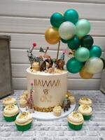 BALLOON CAKE TOPPER CONFETTI BIRTHDAY PARTY GARLAND SAFARI ANIMAL JUNGLE TROPIC