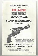Ruger Instruction Manual for Blackhawk and Super Blackhawk Revolvers