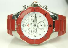 MICHELE Tahitian Jelly Bean Chronograph Red Rubber Band Watch MWW12F000021