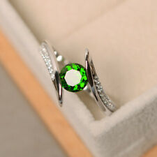 Women Fashion Jewelry Round Cut Emerald Silver Wedding Engagement Rings Sz 8